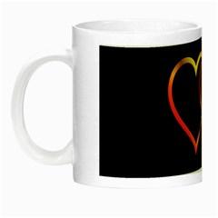 Heart Gold Black Background Love Night Luminous Mugs