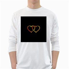 Heart Gold Black Background Love White Long Sleeve T Shirts