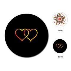 Heart Gold Black Background Love Playing Cards (round)
