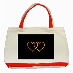 Heart Gold Black Background Love Classic Tote Bag (red)