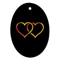 Heart Gold Black Background Love Oval Ornament (two Sides)