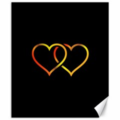 Heart Gold Black Background Love Canvas 8  X 10