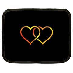 Heart Gold Black Background Love Netbook Case (large)
