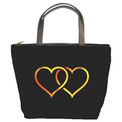 Heart Gold Black Background Love Bucket Bags