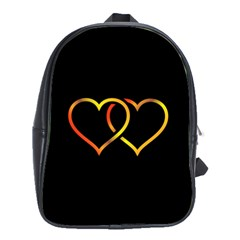 Heart Gold Black Background Love School Bags(large)