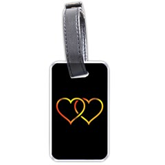 Heart Gold Black Background Love Luggage Tags (two Sides)