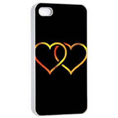 Heart Gold Black Background Love Apple Iphone 4/4s Seamless Case (white)