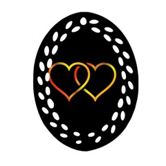 Heart Gold Black Background Love Oval Filigree Ornament (two Sides)