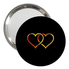 Heart Gold Black Background Love 3  Handbag Mirrors