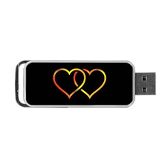 Heart Gold Black Background Love Portable Usb Flash (one Side)