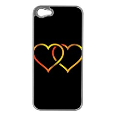 Heart Gold Black Background Love Apple Iphone 5 Case (silver)