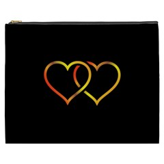 Heart Gold Black Background Love Cosmetic Bag (xxxl)