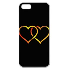 Heart Gold Black Background Love Apple Seamless Iphone 5 Case (clear)