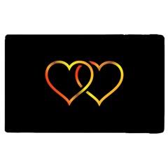 Heart Gold Black Background Love Apple Ipad 2 Flip Case