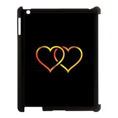 Heart Gold Black Background Love Apple Ipad 3/4 Case (black)
