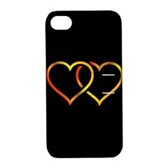 Heart Gold Black Background Love Apple Iphone 4/4s Hardshell Case With Stand