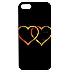 Heart Gold Black Background Love Apple Iphone 5 Hardshell Case With Stand