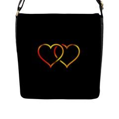 Heart Gold Black Background Love Flap Messenger Bag (l)