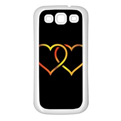 Heart Gold Black Background Love Samsung Galaxy S3 Back Case (white)