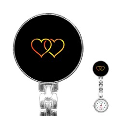 Heart Gold Black Background Love Stainless Steel Nurses Watch
