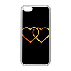 Heart Gold Black Background Love Apple Iphone 5c Seamless Case (white)