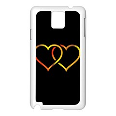 Heart Gold Black Background Love Samsung Galaxy Note 3 N9005 Case (white)
