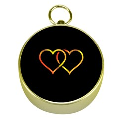 Heart Gold Black Background Love Gold Compasses