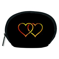 Heart Gold Black Background Love Accessory Pouches (medium)