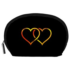Heart Gold Black Background Love Accessory Pouches (large)