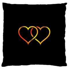 Heart Gold Black Background Love Large Flano Cushion Case (two Sides)