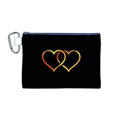 Heart Gold Black Background Love Canvas Cosmetic Bag (m)