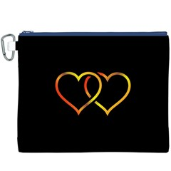 Heart Gold Black Background Love Canvas Cosmetic Bag (xxxl)