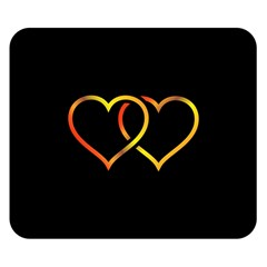 Heart Gold Black Background Love Double Sided Flano Blanket (Small)
