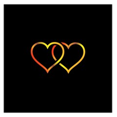 Heart Gold Black Background Love Large Satin Scarf (square)