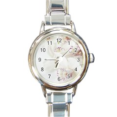 Orchids Flowers White Background Round Italian Charm Watch