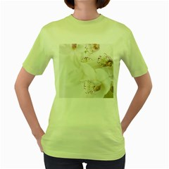 Orchids Flowers White Background Women s Green T Shirt