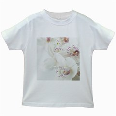 Orchids Flowers White Background Kids White T Shirts
