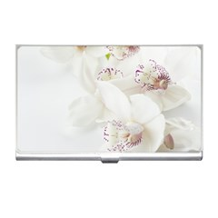 Orchids Flowers White Background Business Card Holders