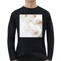 Orchids Flowers White Background Long Sleeve Dark T-Shirts