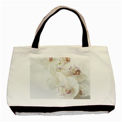 Orchids Flowers White Background Basic Tote Bag