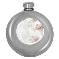 Orchids Flowers White Background Round Hip Flask (5 oz)