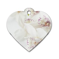 Orchids Flowers White Background Dog Tag Heart (two Sides)