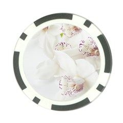 Orchids Flowers White Background Poker Chip Card Guard