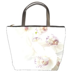 Orchids Flowers White Background Bucket Bags