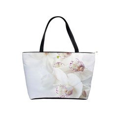 Orchids Flowers White Background Shoulder Handbags