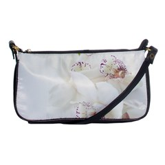 Orchids Flowers White Background Shoulder Clutch Bags