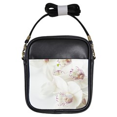 Orchids Flowers White Background Girls Sling Bags
