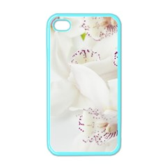 Orchids Flowers White Background Apple Iphone 4 Case (color)