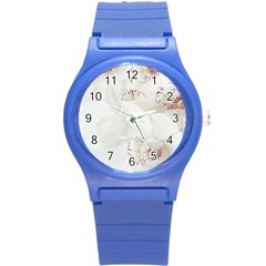 Orchids Flowers White Background Round Plastic Sport Watch (s)