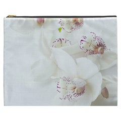 Orchids Flowers White Background Cosmetic Bag (xxxl)